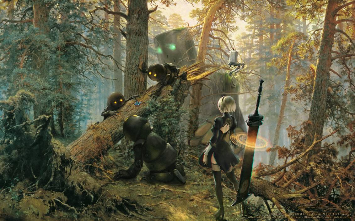 robots_in_a_pine_forest___nier_shishkin_wallpaper_by_fantasio_dcgpccw-pre.jpg