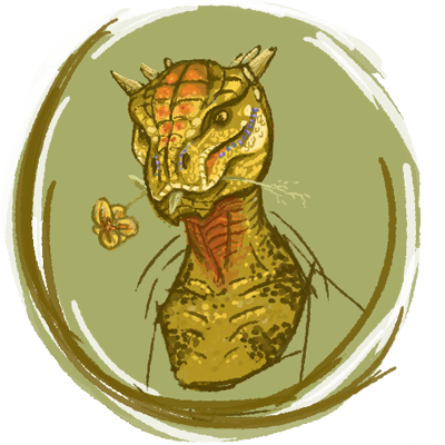 eats_flowers_the_argonian_by_cael_illus-