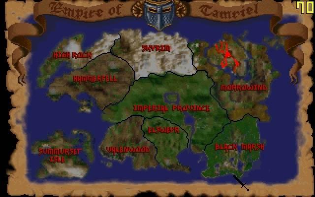 Карта империи Тамриэль в игре TES: Arena