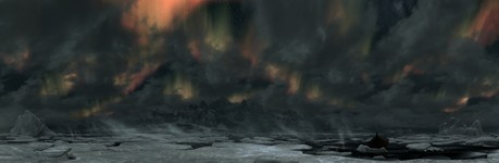 Полярное сияние над северным побережьем (панорама)