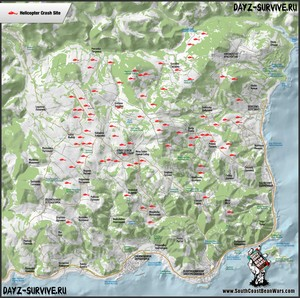 DayZ. Карта игрового мира