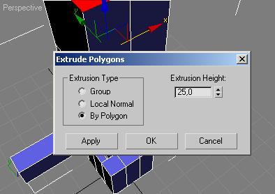 Задаём параметры выдавливания в окне Extrude Polugons