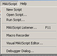 Пункт меню MAXScript