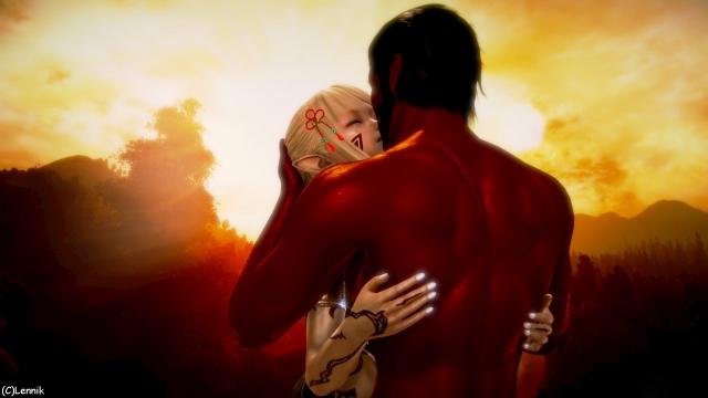 Поцелуи на фоне восхода.