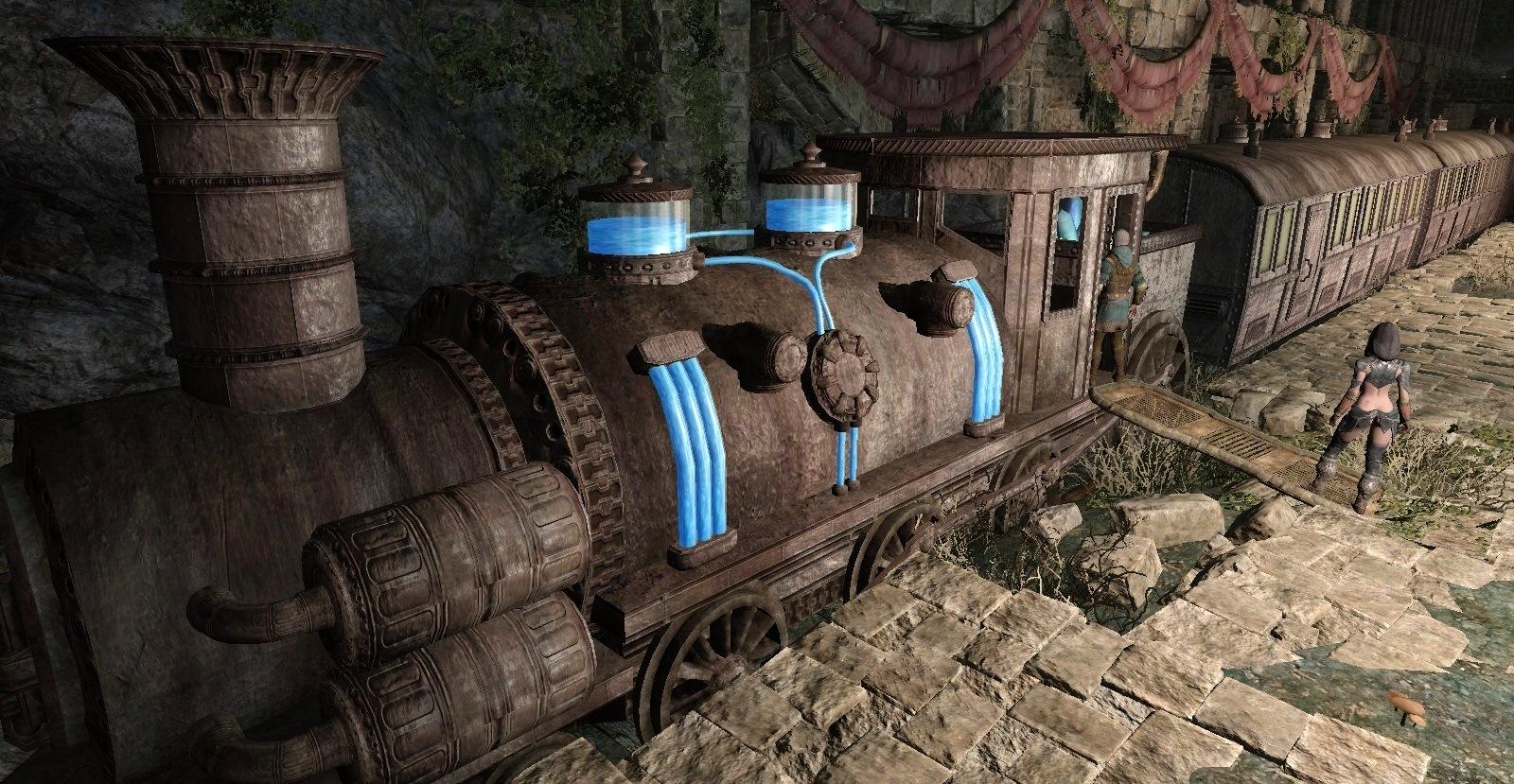 Enderal. Поезд, на котором можно в игре покататься.