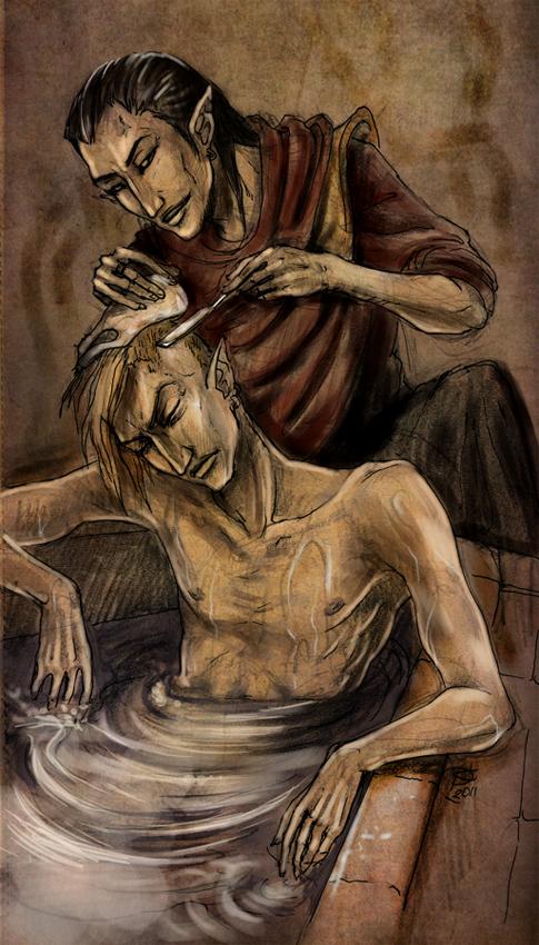 Ворин Дагот бреет голову Лорду Неревару Индорилу) -тебе не кажется, что бри