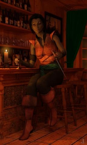 Данмерка в таверне.
