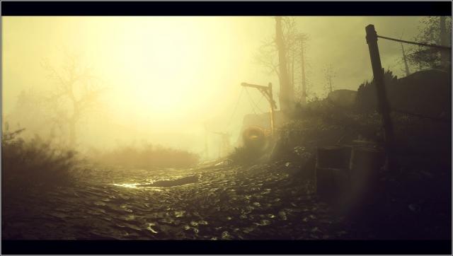 Лучи солнца сквозь утренний туман