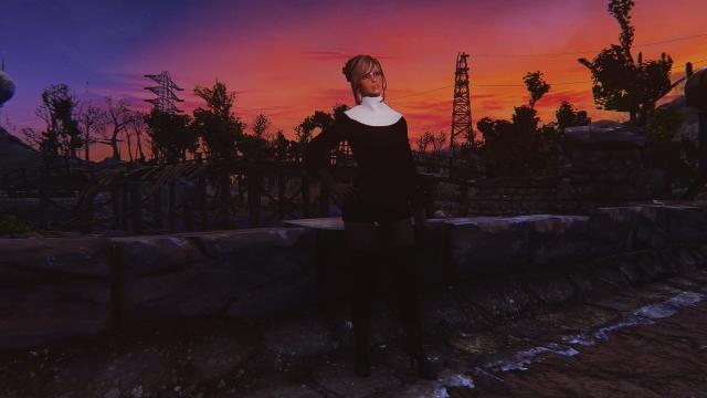 Закат, мост, ЛЭП