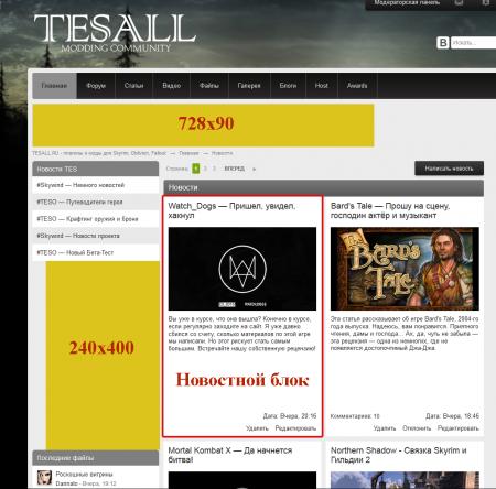 Баннерные позиции на главной странице сайта tesall.ru